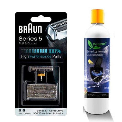 Zestaw folia + nóż Braun 51s oraz 1 litr Biopretta CCR
