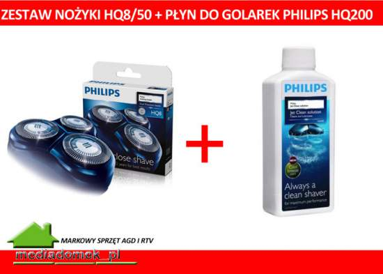 Zestaw Philips HQ8 / 50 + Płyn HQ200 HQ 200 WROCLAW Glowice Golące