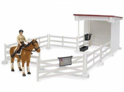 BRUDER 62521 ZAGRODA + koń z jeźdźcem STADNINA