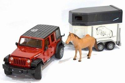 Bruder 02926 Jeep Wrangler Rubicon z przyczepa+koń